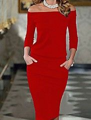 Women s Going out Bodycon Dress - Solid Colored Red Off Shoulder 25dbc292da9a
