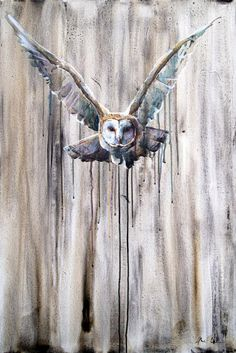 Giclee (fine art) print on archival paper of a very dramatic, flying barn owl, with loose, watercolor-style drips and washes. The print area is with an additional border of white paper. If you are interested in a different size, send me a message Watercolor Barns, Watercolor Animals, Owl Artwork, Photo Animaliere, Owl Quilts, Owl Photos, Animal Paintings, Paintings Of Owls, Wildlife Art