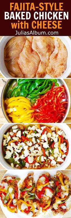 Baked Fajita-Style Chicken Breasts with Cheese. Gluten free recipe.