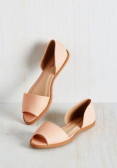 Appreciative Initiative Flat - Flat, Faux Leather, Pink, Solid, Work, Daytime Party, Graduation, Pastel, Minimal, Good, Peep Toe, Pink, Pastel, Spring, Summer