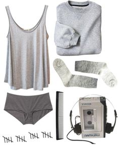"""I just feel grey today ok!!"" by rami-x ❤ liked on Polyvore"
