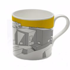 People Will Always Need Plates The Hepworth Wakefield Yellow Mug: Bone-china mug, with an illustration of The Hepworth Wakefield building.