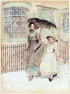 Now and again ladies pass in their pattens, a maid perhaps protecting them with an umbrella, for flakes of snow are falling discreetly.  Hugh Thomson, from Quality street, a comedy in four acts, by James Matthew Barrie, London, 1913.  (Source: archive.org)
