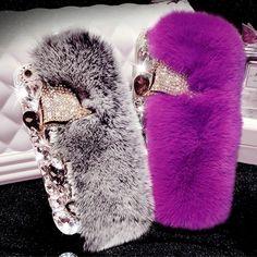 Luxury Case 3D For iPhone X 10 8 7 Plus Rabbit Fur Diamond Fox Head Bling Women #LuxuryCaseChina