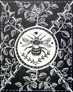 Little Bee Black Original lino cut print by mangleprints