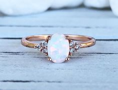 14K Solid Rose Gold Oval White Fire Opal Diamond Simulated Stone Three Stone Engagement Wedding Promise Ring by VillaniDesigns on Etsy
