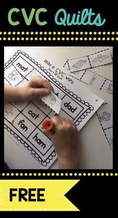 FREE Literacy Center CVC Quilts - easy and fun worksheet to practice reading and matching CVC words in Kindergarten