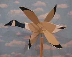 Large flying Canadian goose whirligig / water foul / decoy / spinner / handmade / wood  USA
