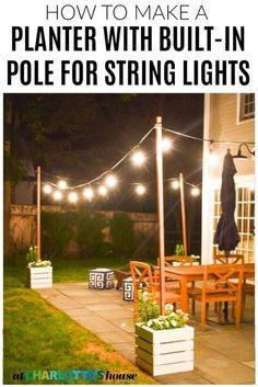 outdoor decor My friend wanted some planters for her patio, but she also wanted to hang some string lights. I was able to make her two-in-one and came up with these slatted wooden planters that also have a pole mounted inside to hold up string lights.
