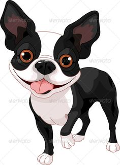 boston terrier cartoon pictures | Boston Terrier, standing in front of white background Boston Terrier Art, Boston Art, Funny Emoticons, Puppy Party, Terrier Puppies, Dog Signs, Animal Paintings, Dog Art, Cute Dogs