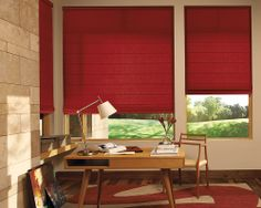 Create a stimulating home office with traditional red Design Studio™ Roman Shades. A salute to American Design and Craftsmanship. ♦ Hunter Douglas window treatments