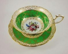 Rich Emerald Green Signed F Howard Bouquet Hammersley Tea Cup and Saucer Set | eBay
