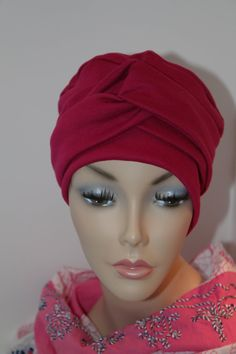 Raspberry Red Sangria Chemo Hat Cancer Cap Soft Cotton Jersey Knit Womens Turban Free Ship in USA