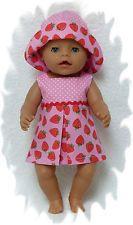 Puppenkleidung für Puppe 43 cm. Erdbeer-Kurzkleid.