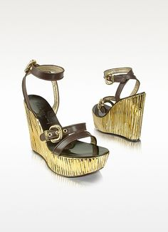 Leather and Gold Platform Wedge Shoes - Casadei
