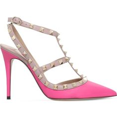 VALENTINO Rockstud 100 leather courts ($820) ❤ liked on Polyvore featuring shoes, pumps, fushia, leather upper shoes, strappy shoes, strap pumps, leather pumps and pointy toe pumps