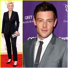 Watch Jane Lynch's heartfelt tribute to Cory Monteith at the 2013 Emmy Awards. Jane Lynch, Cory Monteith, Just Jared, Glee, Awards, Watch, People, Fictional Characters, Clock