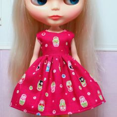 RESERVED...BLYTHE doll Its my party dress - tiny matryoshkas on pink