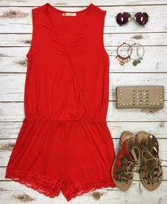 Simply Stated Romper: Red Orange