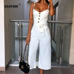 fe52d721a4bfb ELSVIOS Women Spaghetti Strap Jumpsuit Romper Elegant 2019 Summer Button  Sleeveless Sashes Playsuit Casual Solid V