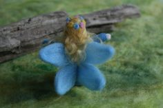 NEEDLE FELTED FAIRY Blue  Eco Friendly Ready to di MOLICAAustralia, $25.00