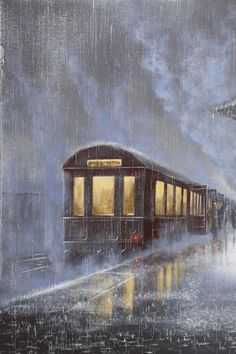 The train leaving the train station in pourin rain. It looks cozy inside the softly lit train car.