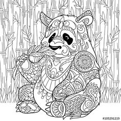 Zentangle panda sitting among bamboo stems for adult antistress coloring page