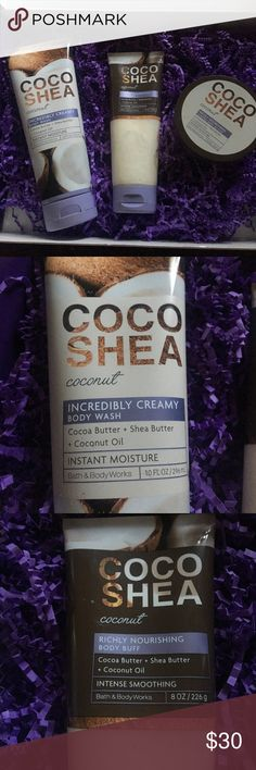Reserved Bath and Body Works new line of Coco Shea Coconut Body products. Body wash, body butter and Body buff, all NWT!! I also threw in a half used bottle of their shampoo line! Bath and Body Works  Other