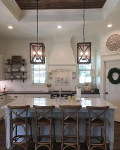 """9,190 Likes, 153 Comments - ANTIQUE FARMHOUSE (@antiquefarmhouse) on Instagram: """"# @the_refinedfarmhouse Good morning! Who's crushing on this amazing kitchen space like we are?…"""""""
