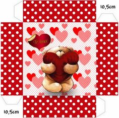 Osito con Corazón: Cajas para Imprimir Gratis. Paper Doll House, Paper Dolls, Diy Wrapping Box, Printable Box, Paper Crafts, Diy Crafts, Free Boxes, Valentine Box, Christmas Bags