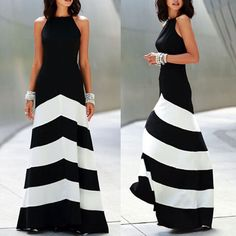 I found some amazing stuff, open it to learn more! Don't wait:https://m.dhgate.com/product/black-and-white-striped-maxi-dress-backless/384352425.html