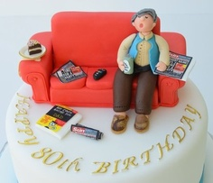 An celebration cake. One too many beers for grandad and apparently the red sofa has a good story to it, so I am told! Birthday Cakes For Men, 70th Birthday Cake, Special Birthday, Man Birthday, Bed Cake, Friends Cake, Grandpa Birthday, Retirement Cakes, Biscuit