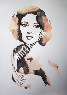 Elizabeth Taylor , original watercolour (not print) on 300g paper. A3 approx: 11.5x16.5inch/30x42cm. FREE SHIPPING $80.00 USD