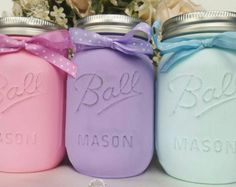 Shabby Chic Chalk Paint Mason Jars - Cottage Deco- Gift Ideas - weddings - Baby Shower - Birthdays