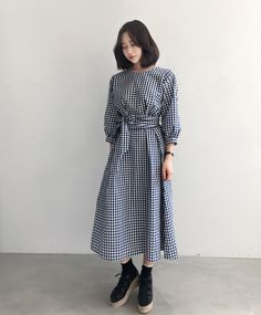 Gingham Check Waist Strap Midi Dress | $39.40
