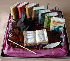 Book cake - I could make all the books on top into my favorite books.