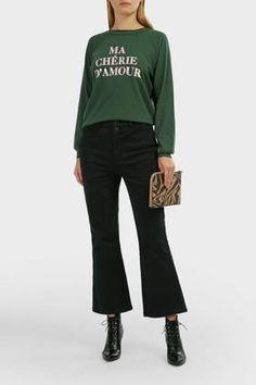 Wildfox S, Women, Green Joggers, Sweatpants, Cotton Slip, Tabitha Simmons, Printed Sweatshirts, Green Cotton, Wildfox, Slogan, Jumper
