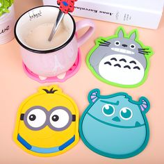 1pcs Cartoon Silicone Coffee Placemat Non-slip Drink Coasters Cup Glass Holder Pad Mat Table Decoration #Affiliate