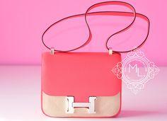 Hermes Rose Jaipur Red Epsom Constance MM 24/25 Handbag - New
