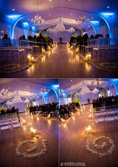 coral-bay-club-nc-wedding-photographer_1113.jpg  Indoor ceremony, Coral Bay Club, Atlantic Beach NC.  Blue uplighting, aisle decor, clear chiavari chairs, winter glam wedding