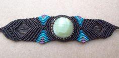 Macrame Bracelet/Onyx/Black/Blue Rainbow/Purple/Healing Stone. $34.00, via Etsy.