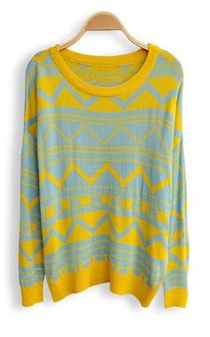 Blue Yellow Long Sleeve Geometric Print Pullovers Sweater