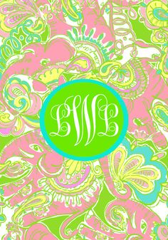 Lilly Pulitzer Chin Chin Monogrammed Wallpaper for your Smart Phone or iPhone from Elle-o-font