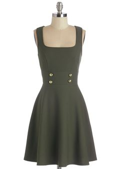 Delightfully Charming Dress in Olive. Your savvy sense of style will command attention when you zip into this olive fit-and-flare! #green #modcloth