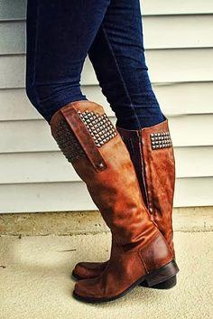 Brown long boots with dark blue denim