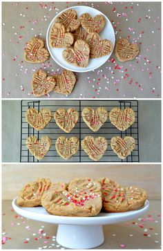 Three Ingredient Valentines Day Peanut Butter Cookies. So simple!  www.littleglassjar.com