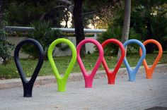 Loclock bicycle rack. Made with polyethylene + uhpc concrete. This innovative material prevents scratches on bicycles and adds color. www.durbanis.com @durbanis Bicycle Rack, Park, Bicycles, Color, Concrete, Fitness, Parks, Colour, Excercise