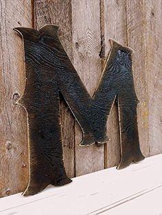 """22"""" X-Large Western Style Wood Letter """"M"""" Shabby Chic Rustic Wall Art A B C D E F G H I J K L M N O P Q R S T U V W X Y Z"""
