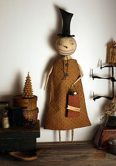 Mrs. Primitive Snowman Doll