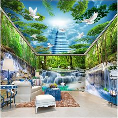 Wall Wallpaper Custom Forest Falls Lake Pigeon Smallpox whole room Background Modern Mural for Living Room Painting Home Decor #Affiliate